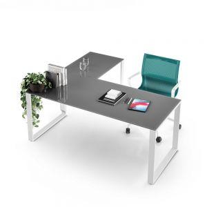 FY/10 - scrivania angolo vetro FUNNY base ANELLO