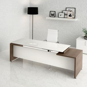 GO07/A scrivania lineare top vetro GO EASY