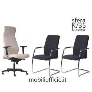 K/35 kit ufficio SFERA direzionale con sedute interlocutore a slitta