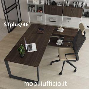 STplus/46 scrivania STRATOS PLUS con mobile di servizio laterale