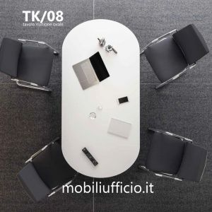 TK/08 tavolo riunione TEKO operativo con top OVALE e base pannellata