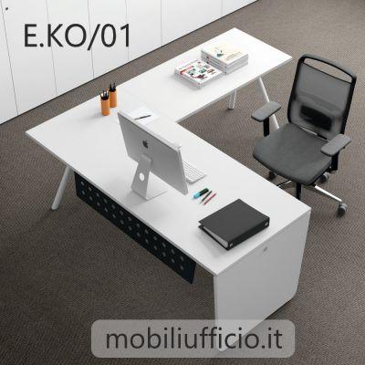 E.KO/01 scrivania EKOMPI angolare con base ibrida