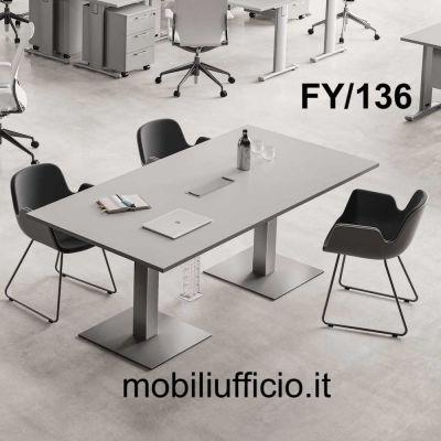 FY/136 tavolo riunione FUNNY con base doppia piantana in metallo