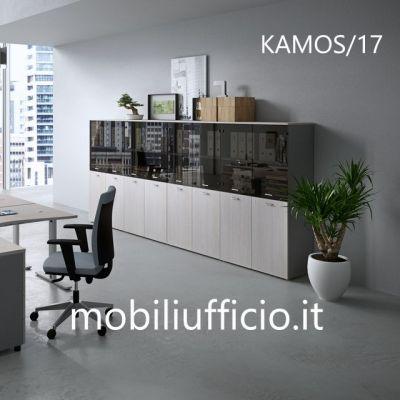 KAMOS/17 mobile archivio KAMOS con ante legno e vetro