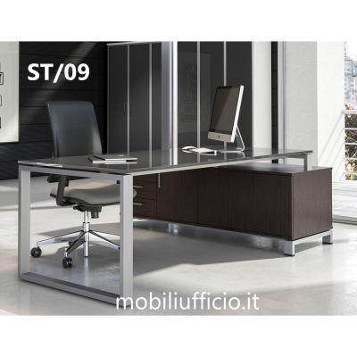 ST/09 scrivania STRATOS piana in vetro su mobile di servizio