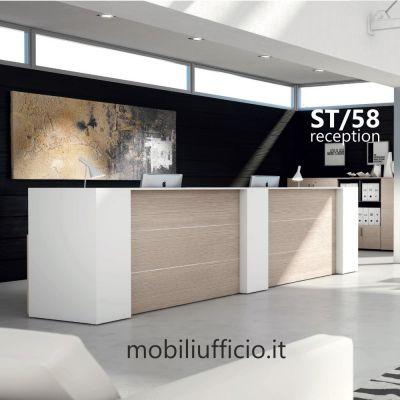 ST/58 reception STRATOS doppia postazione lavoro con mobili divisori